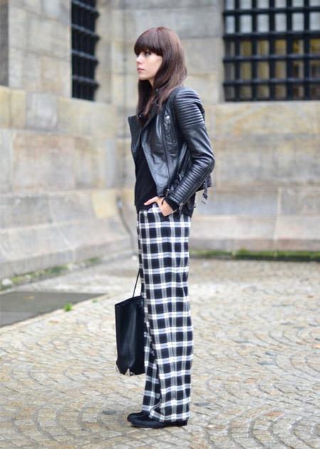 jaqueta-de-couro-com-calça-xadrez-looks